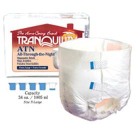 "Tranquility ATN (All-Through-the-Night) Disposable Brief, 34 oz Capacity, Latex-Free, XL (56"" to 64"") - One pkg of 12 each - Total Diabetes Supply"