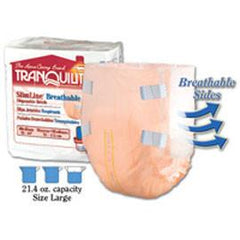 "Tranquility SlimLine Breathable Brief, 21-2/5 oz Fluid Capacity, Latex-Free, Large, (45"" to 58"" Waist/Hip) - One pkg of 12 each - Total Diabetes Supply"