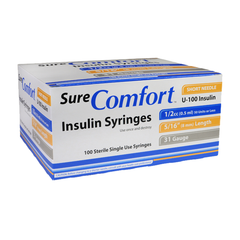 "SureComfort U-100 Insulin Syringes Short Needle - 31G 1/2cc 5/16"" - BX 100"