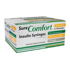 "SureComfort U-100 Insulin Syringes Short Needle - 31G 1cc 5/16"" - BX 100"