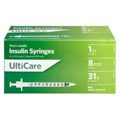 "UltiCare II U-100 Insulin Syringes - Short Needle - 31G 1 cc 5/16"" - BX 100 - Total Diabetes Supply"