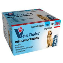 "Vet's Choice Insulin Syringes 29G U-40 1cc 1/2"" - 100/bx - Total Diabetes Supply"
