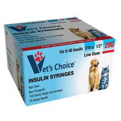 "Vet's Choice Insulin Syringes 29G U-40 3/10cc 1/2"" - 100/bx - Total Diabetes Supply"