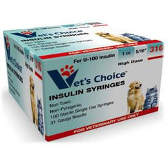 "Vet's Choice U-100 Pet Insulin Syringes 31G 1cc 5/16"" - 100/bx - Total Diabetes Supply"