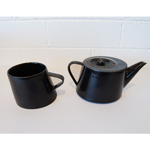 Black Gloss Teapot & Cup by Christopher Plumridge