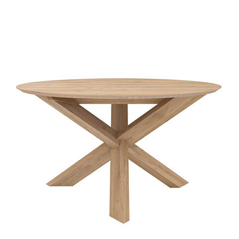 Ethnicraft Oak Circle Dining Table - Open Room