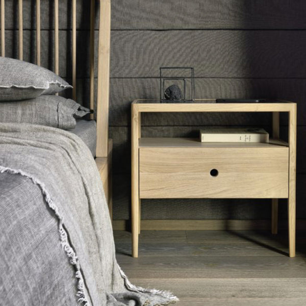 Ethnicraft Oak Spindle Bedside Table, 1 Draw Open Room