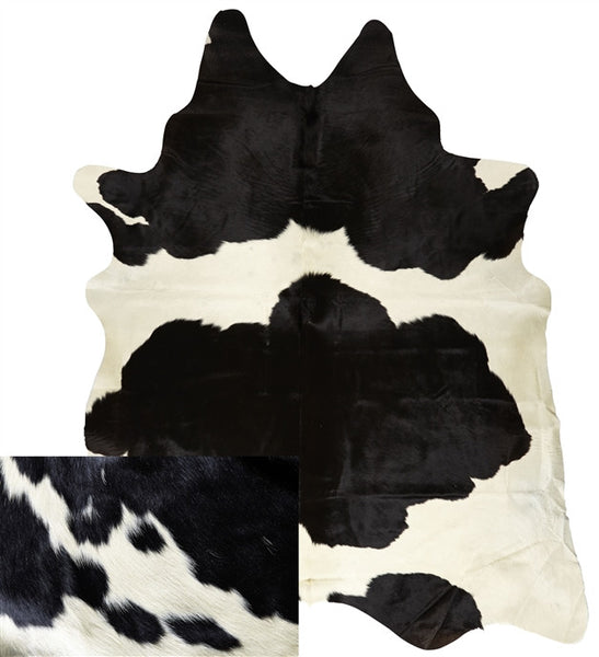 Medium Natural Black and White Cowhide Rug