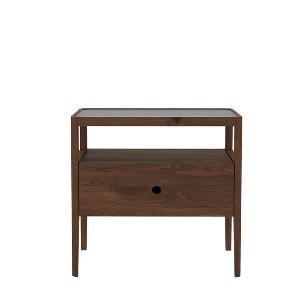 Ethnicraft Walnut Spindle Bedside Table, 1 Draw