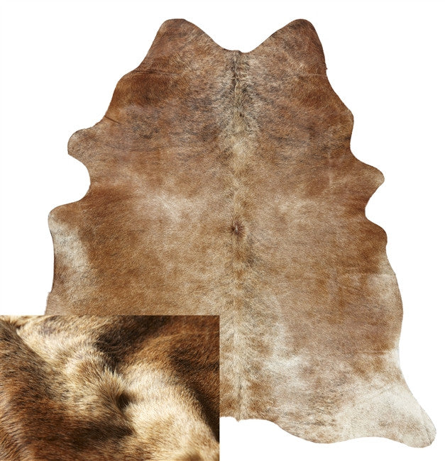Small Natural Solid Beige Cowhide Rug