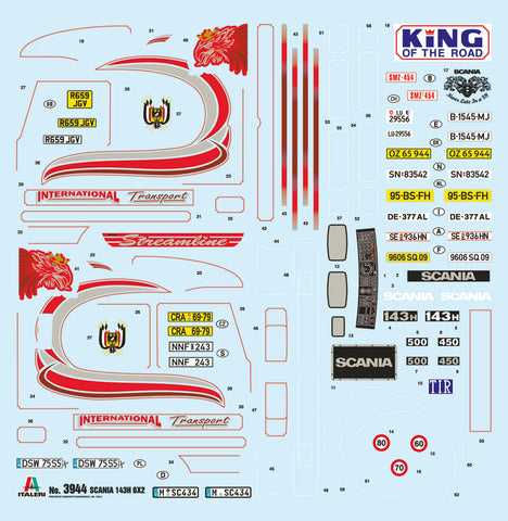 The Scania R143H 6x2 Decal Sheet