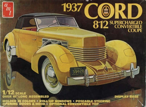 AMT 1:12 1937 Cord 812 Supercharged Convertible Coupe Plastic Model Kit #2424U N/A AMT