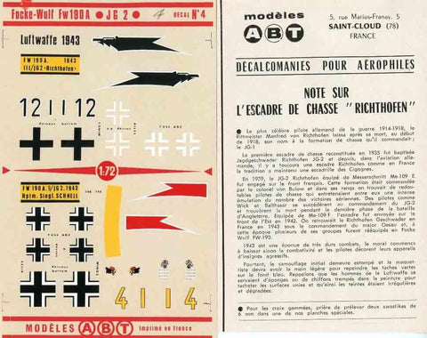 ABT 1:72 Focke Wulf Fw-190 A JG-2 Decal Sheet #04 N/A ABT
