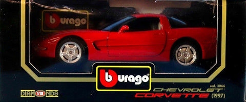 Burago 1:18 Chevrolet Corvette 1997 Diamonds Red Diecast Car #3066U N/A Burago
