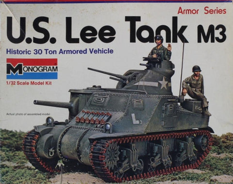 Monogram 1:32 Historic 30 Ton Armored Vehicle US Lee Tank M3 Plastic Kit #7536U N/A Monogram
