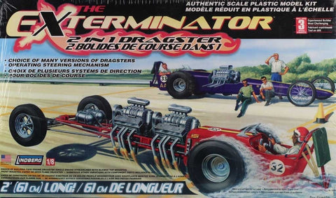 Lindberg 1:8 The Exterminator 2 in 1 Dragster 2 Bolides De Course Kit #73048 N/A Lindberg