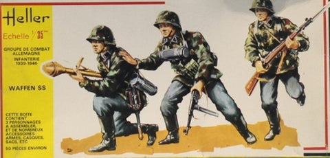 Heller 1:35 WWII German Infantry Waffen SS - Plastic Figure Model Kit #118U N/A Heller
