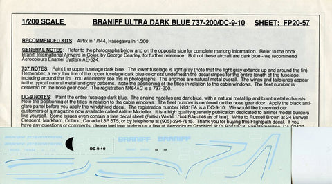 Flightpath 1:144 1:200 Braniff Ultra Dark Blue 737-200 DC-9-10 Decal #FP20-57 N/A Flightpath