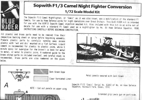 Blue Rider 1:72 Sopwith F1/3 Camel Night Fighter Conversion for Airfix Kit #F13 N/A Blue Rider