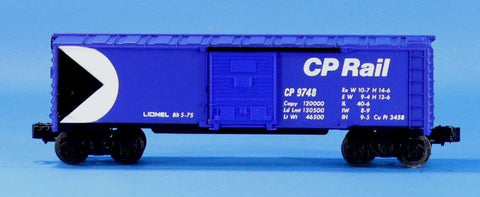 Lionel Electric O Gauge Trains Bule CP Rail #9748 Box Car Boxcar #LLC92U