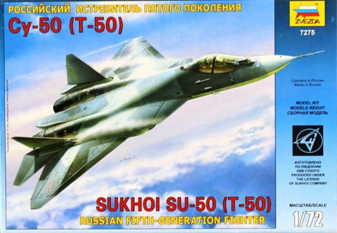 Zvezda 1:72 Russian Fifth generation Fighter Sukhoi Su-50 T-50 Model Kit #7275 N/A Zvezda