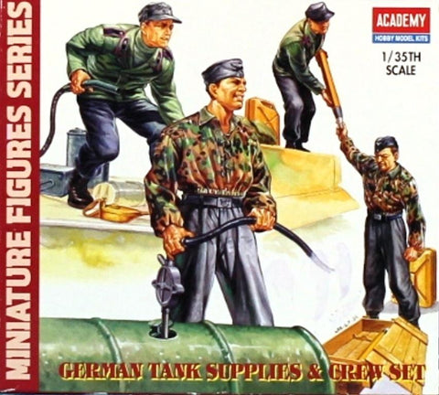 Academy 1:35 German Tank Supplies & Crew Set Plastic Figure Kit #1376 N/A Academy