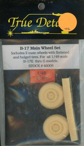 True Details 1:48 B-17 Main Wheel Set Resin Detail Set #46008 N/A True_Details