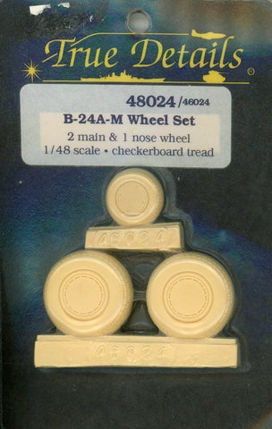 True Details 1:48 B-24 A-M 2 Main & 1 Nose Wheel Resin Detail Set #48024/46024 N/A True_Details