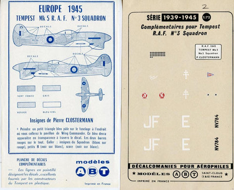 ABT 1:72 Europe 1945 Tempest Mk.5 R.A.F Squadron Decal Sheet #03X N/A ABT