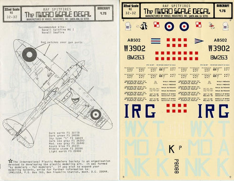 Microscale Decals 1:32 RAF Spitfires Decal Sheet #32-32 N/A Authenticals