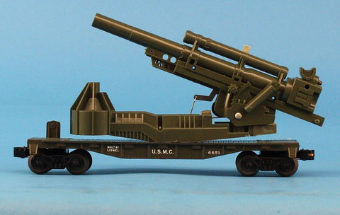 Lionel O Gauge U.S.M.C USMC Gun on Flat Car #6651 Model Cannon Flatcar #6-29853U