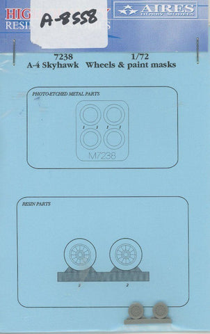 Aires 1:72 A-4 Skyhawk Resin Wheels & Paint Masks for Airfix Kit #7238 N/A Aires