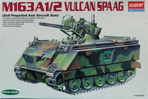 Academy 1:35 US Army M-163A1/2 Vulcan Air Defense Gun Hobby Model Kit #1360U N/A Academy