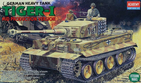 Academy 1:35 German Heavy Tank Tiger-I Mid Production Version Model Kit #1387
