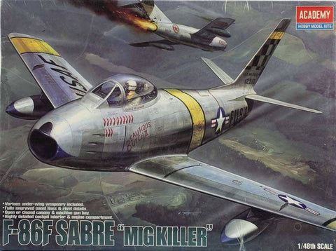 Academy 1:48 F-86 F Sabre MiG Killer Plastic Aircraft Model Kit #2183