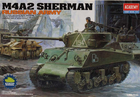Academy 1:35 M4A2 Sherman Russian Army Plastic Hobby Model Kit #13010U
