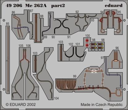 Eduard 1:48 Me 262A Schwalbe Color PE Detail Set For TAMIYA #49206