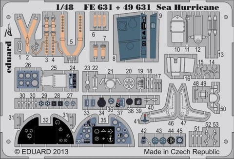 Eduard 1:48 Sea Hurricane Color PE Detail Set for Italeri Kit #49631 N/A Eduard