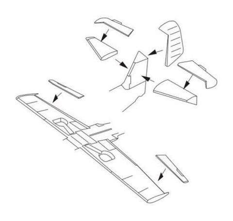 CMK 1:72 WWII German Bf 109G-6 - Control Surfaces For Airfix Kit #7290 N/A CMK