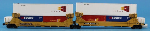 MTH O Gauge TTX 2-Car Twin Stack Container Set DTTX #63125 Flat Car Flatcar #20-2979BU