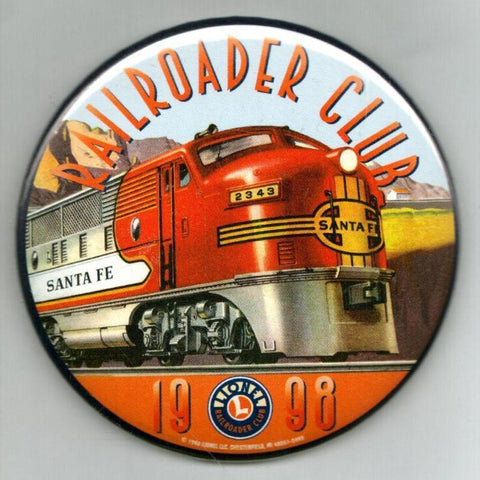 "Lionel Railroader Club 1998 Badge Pinback Button 3 1/2"" Diameter inch N/A Lionel"