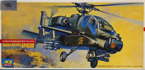 Ace 1:72 Hughes AH-64 A Helicopter Plastic Aircraft Model Kit #1000U N/A Ace