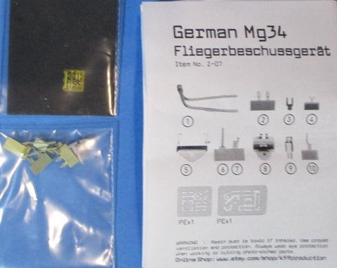 1120 Production 1:35 WWII German MG-34 Air Gunner Fliegerbeschussgerat Set #Z-07 N/A Resin_PE