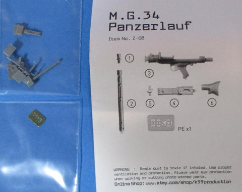 1120 Production 1:35 WWII German MG-34 Tank Run Panzerlauf Resin PE Set #Z-08 N/A Resin_PE