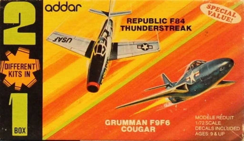 Addar 1:72 Republic F-84 Thunderstreak Grumman F9F-6 Cougar Plastic Kit #903U N/A Addar