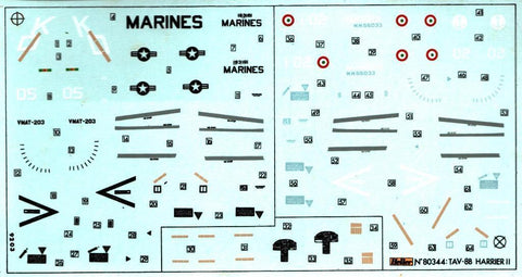 Heller 1:72 TAV-8B Harrier II Decal Sheet #80344dec N/A Heller