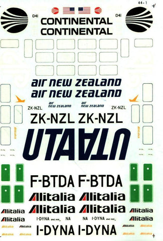 Microscale Decals 1:144 DC-10 Continental Alitalia Air New Zealand UTA #44-1 N/A Microscale_Decals