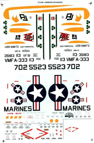 SuperScale Decal 1:72 Carrier Air Wing 8 F-4J Phantom F9F-8 Cougar #72-338 N/A SuperScale_Decal