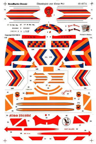 Aero Master 1:48 Thunderjets Over Korea Pt.1 Decal Sheet #48-407 N/A Aero_Master_Decals