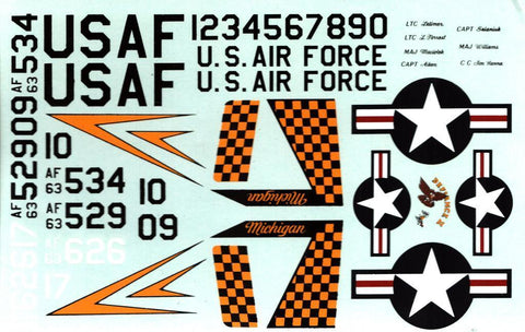 Bare Metal Decal 1:48 F-4C Phantom Michigan ANG 3 USAF Decal Sheet #48-1 N/A Bare_Metal_Decal